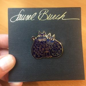 NWT Laurel Burch 2 Blue Cats Brooch